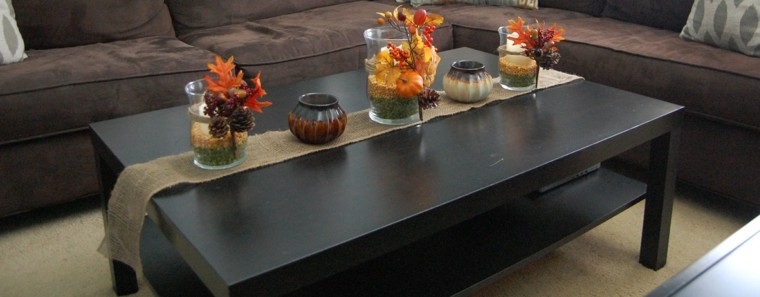 mesas de centro cojines detalles hojas