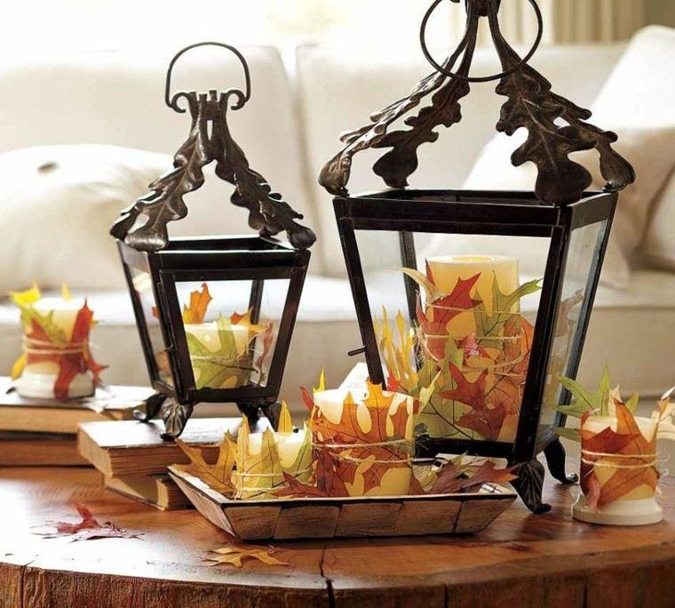 mesas de centro faroles hojas madera