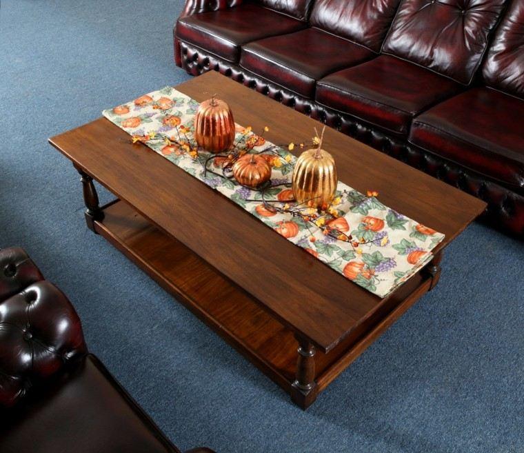 mesas de centro salon azul madera