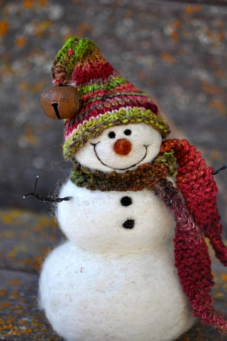 muñeco nieve mesa bufanda cascabel