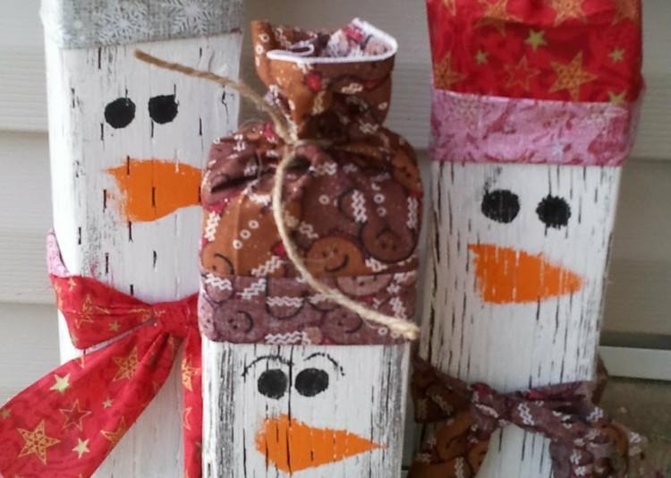 muñecos madera pino nieve cuerdas