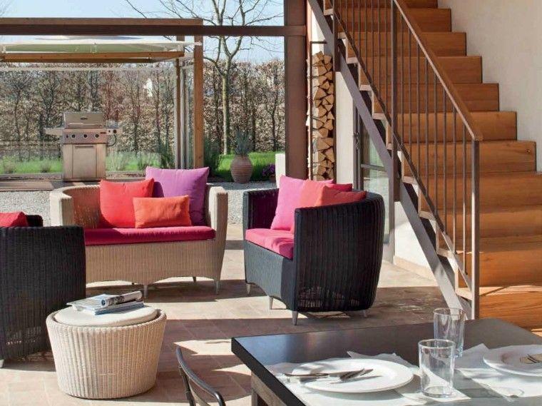 Muebles mimbre dentro y fuera de la casa moderna - Cojines muebles exterior ...