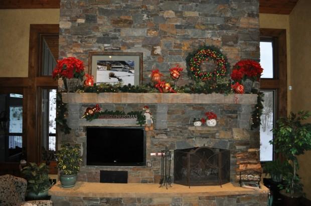 chimenea piedra adornos navidad