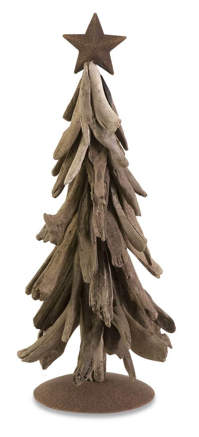 natural decoracion invierno arbol navidad madera estrella ideas