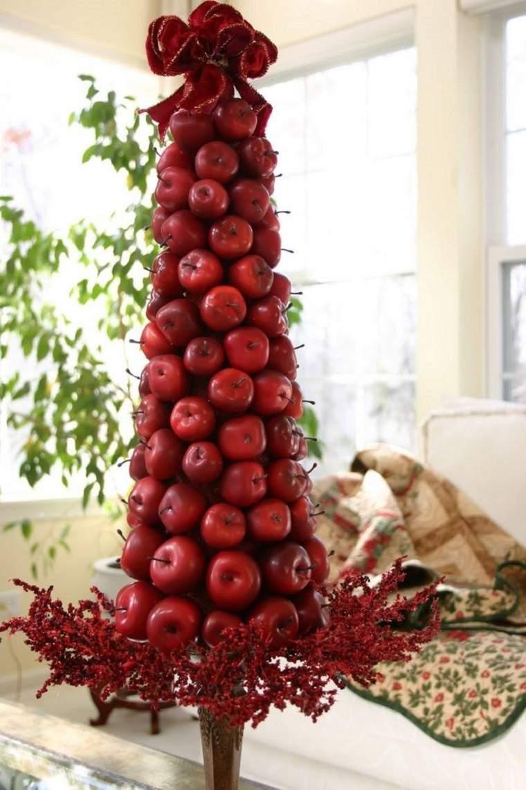 natural decoracion invierno arbol navidad manzanas rojas ideas