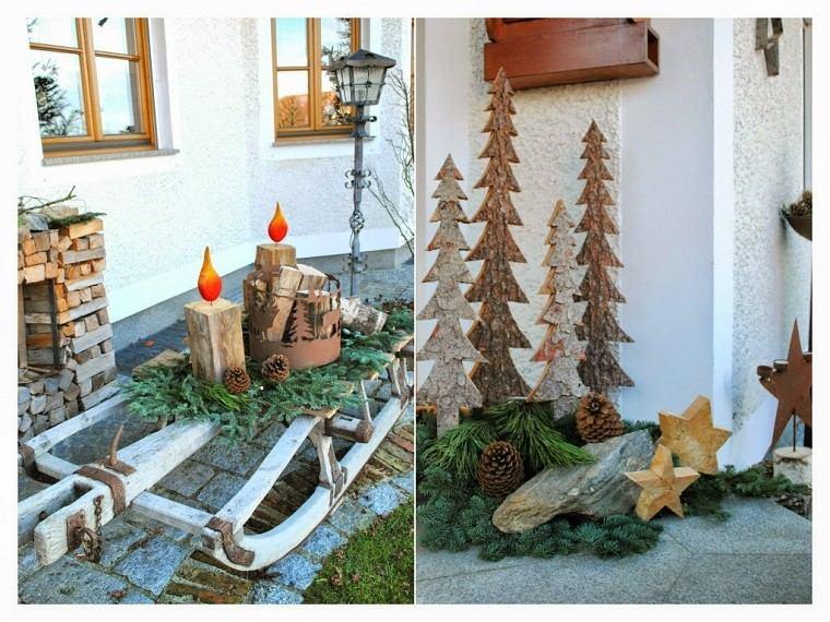 Material natural para hacer las decoraciones de invierno for Adornos de navidad para jardin