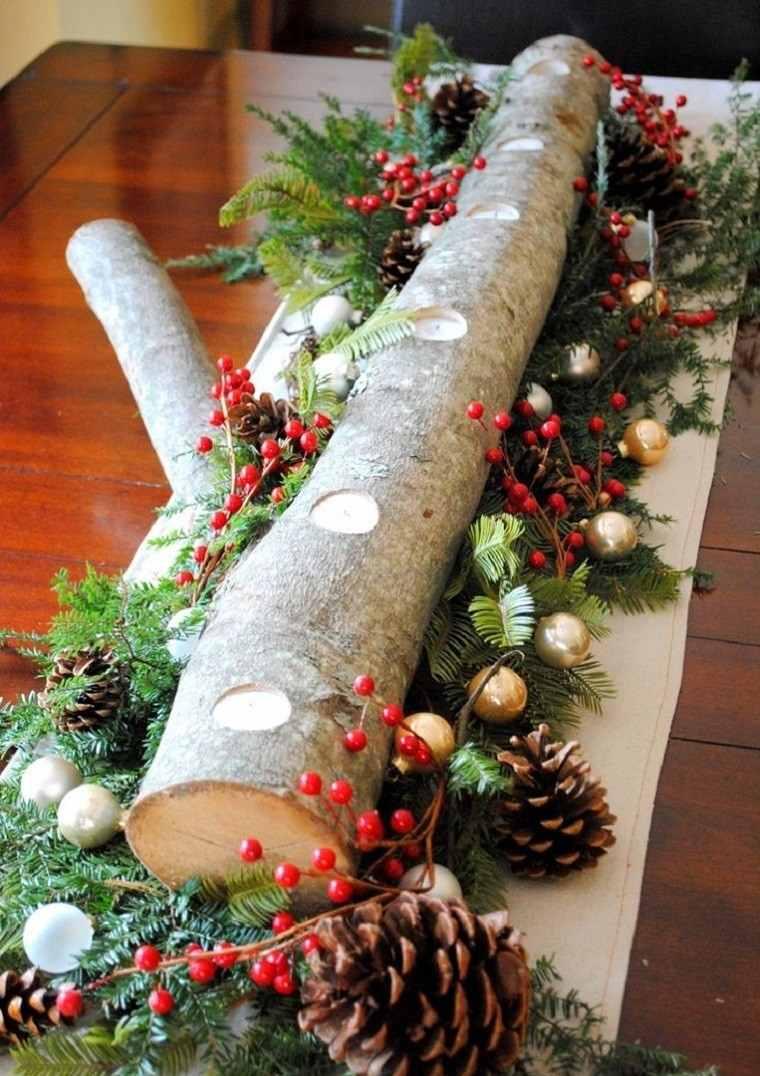 natural decoracion invierno centro mesa madera ideas