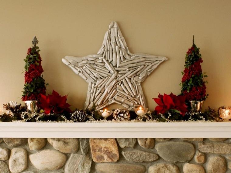 natural decoracion invierno estrella chimenea ideas