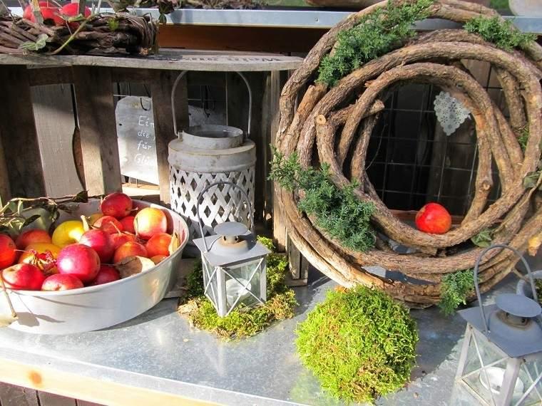 natural decoracion invierno guirnalda madera bola moho ideas