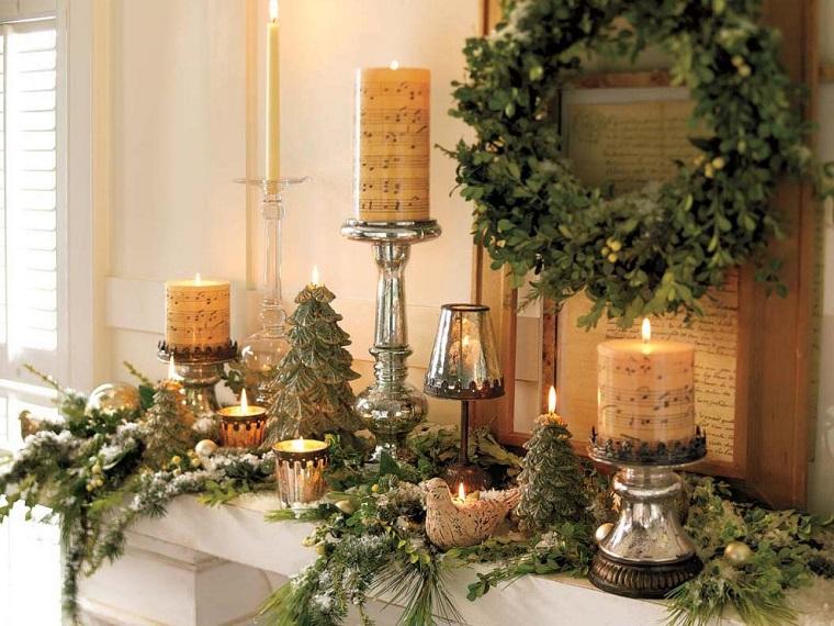 natural decoracion invierno plantas velas chimenea ideas