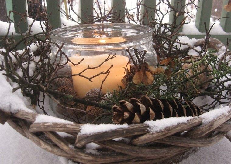 natural decoracion invierno plato madera vela ideas