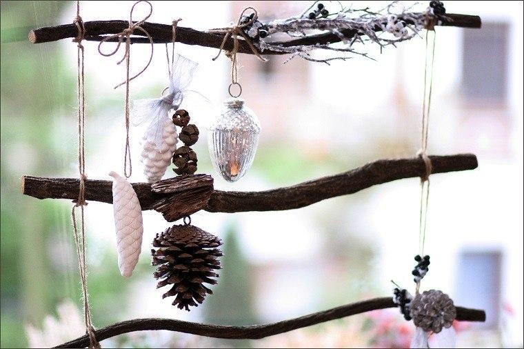 natural decoracion invierno ramas arbol pinas cuerda ideas