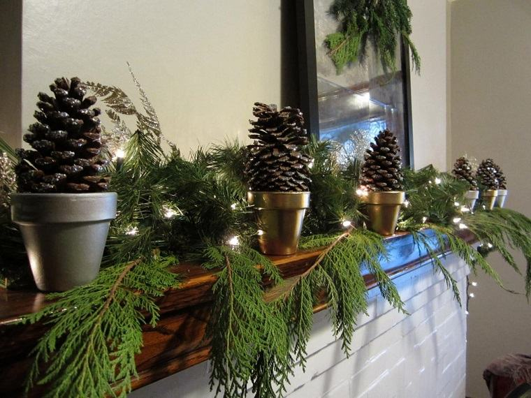 natural decoracion invierno ramas pinas macetas ideas