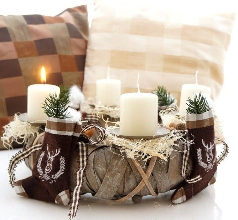 natural decoracion invierno velas cesto madera ideas