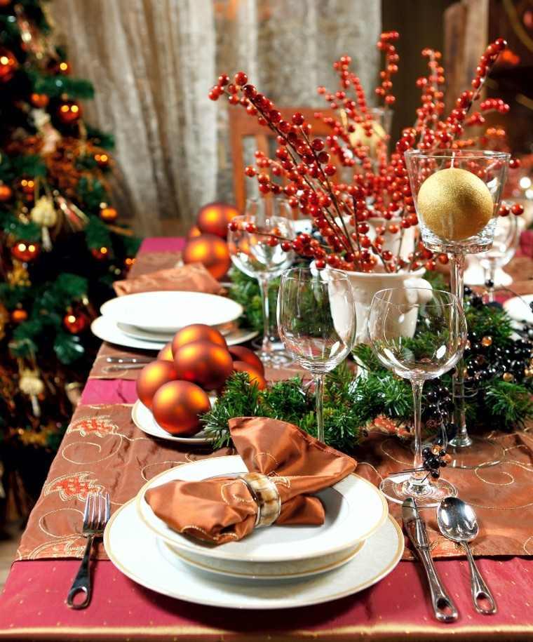 comedores navidad estilo diseño esferas