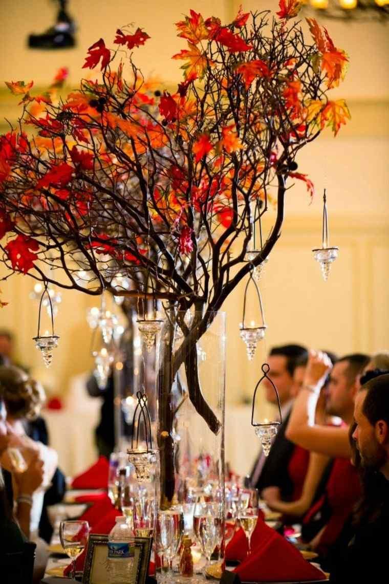 naturaleza centro mesa cristales boda ramas