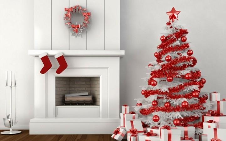 diseño navidad blanca adornos rojos
