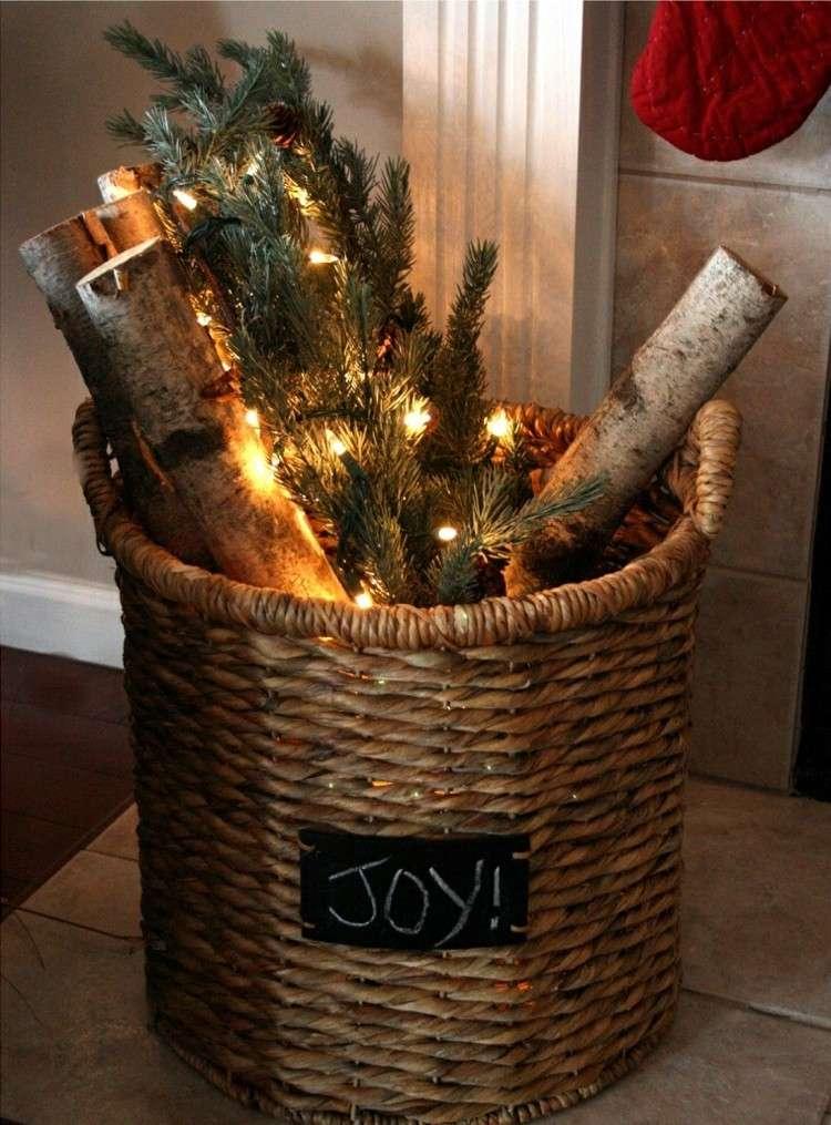 navidad decoracion madera cesto luces