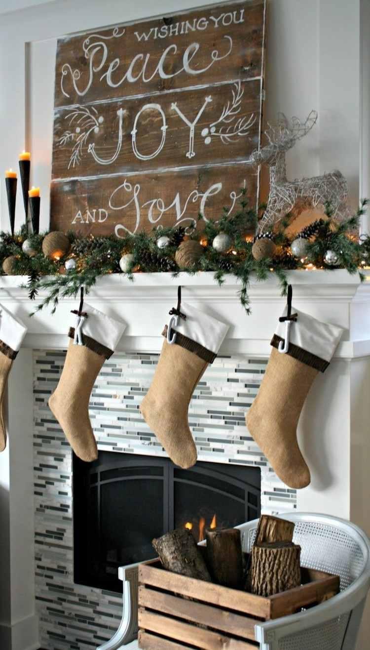 navidad decoracion rusticas chimenea cartel