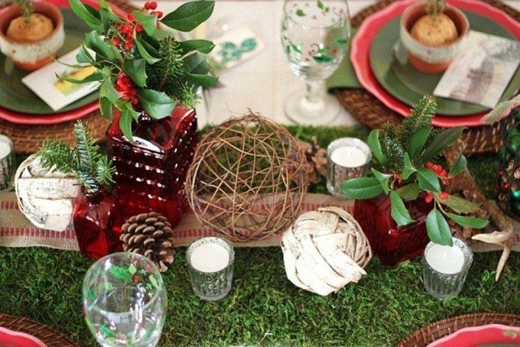 navidad casas rusticas madera conos cesped