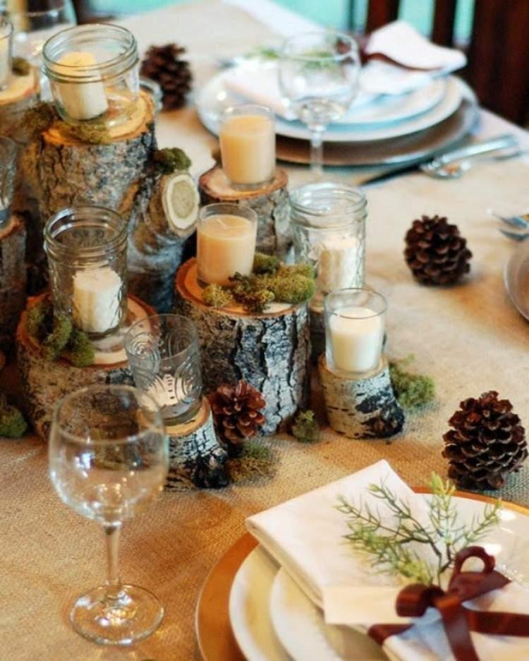 navidad decoracion madera conos velas
