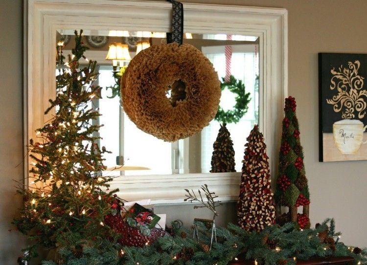 navidad decoracion rustico madera plantas corona