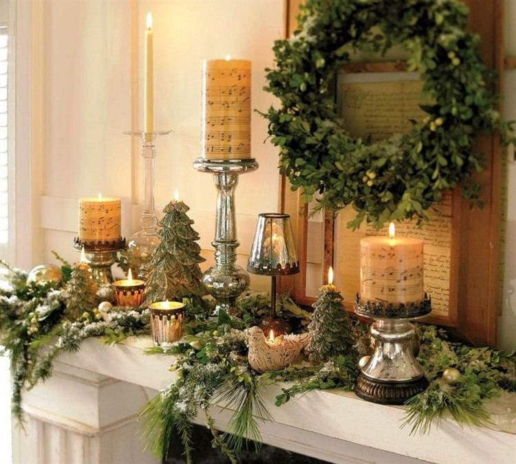 navidad decoracion madera velas corona