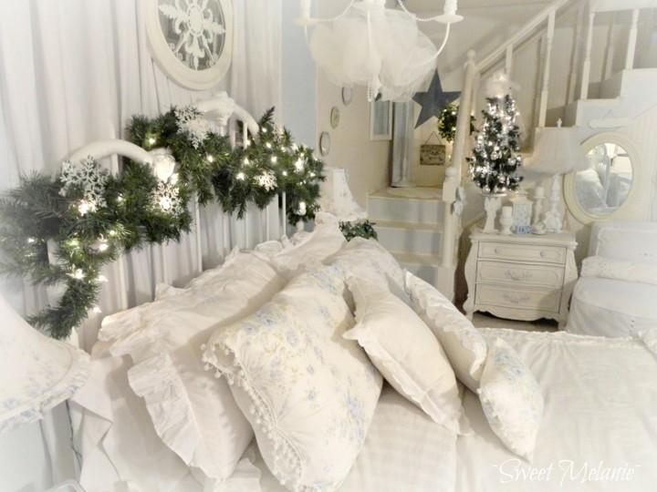 decoración navidad estilo lujoso blanca