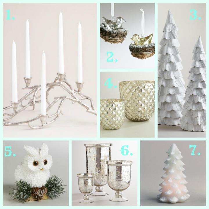 navidades vintage adornos color blanco