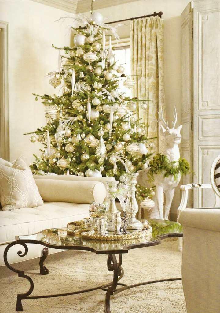 navidades salon reno lujoso blanco