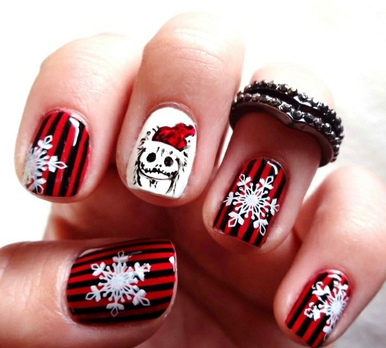 ori¡ginales uñas navidad rayas