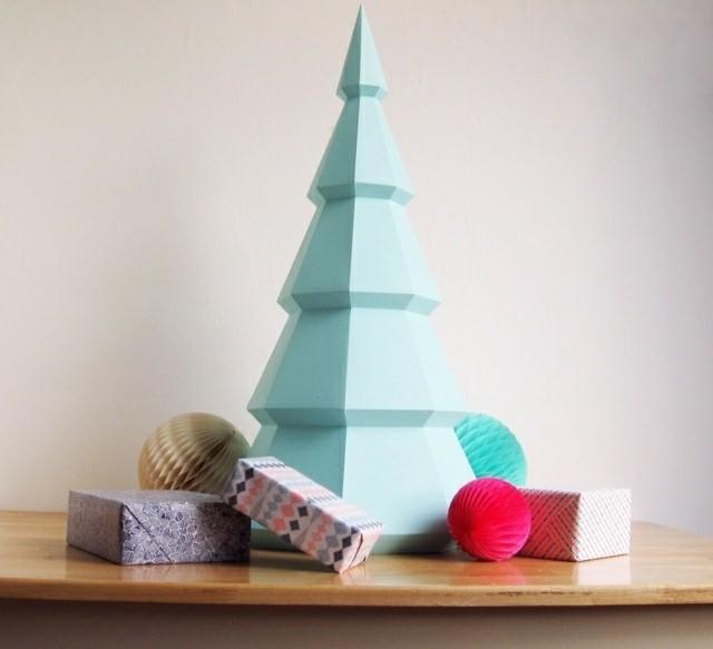origami arbol navidad cartulina celeste