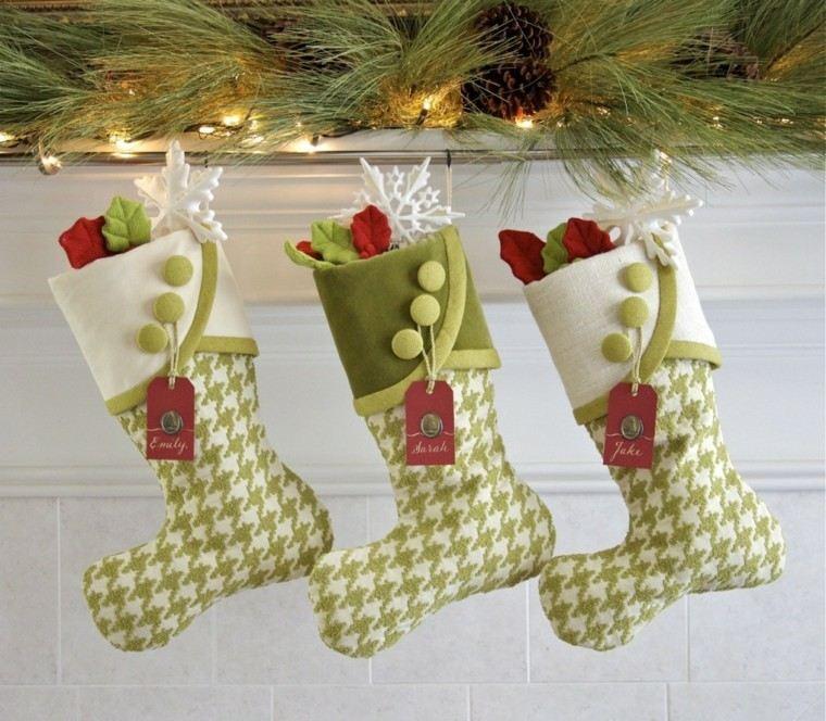 original decoración calcetines navidad verdes
