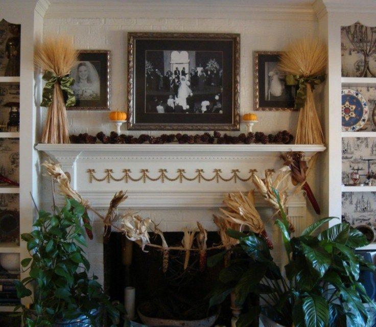 original decoración chimenea otoño