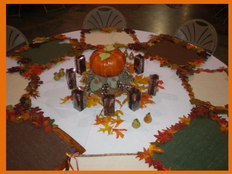 original decoración mesa hojas