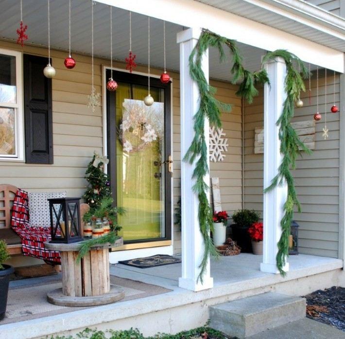 Porche de entrada decorado para la navidad 50 ideas - Decorar un porche ...