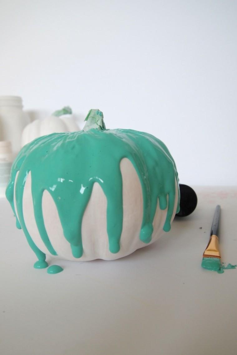 original diseño calabaza pintada aguamarina