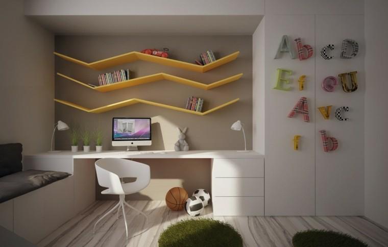 original diseño escritorio estantes amarillos