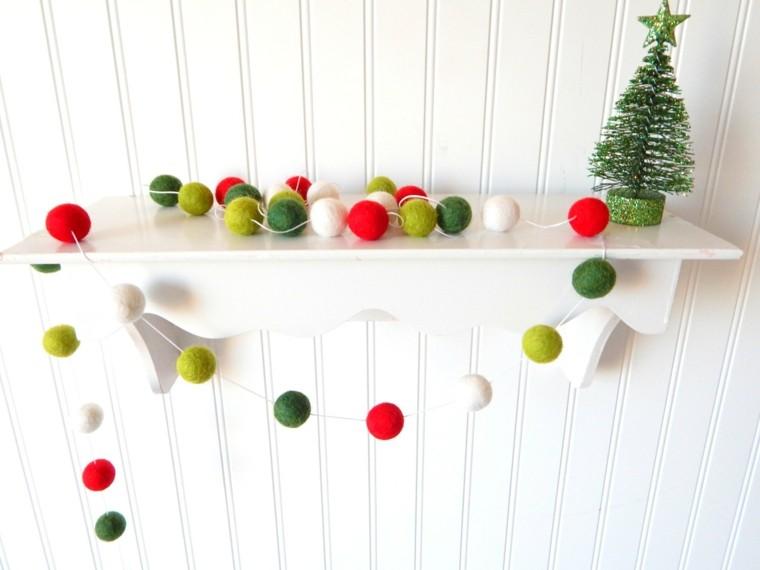 original guirnalda navidad bolas lana - Guirnalda De Navidad