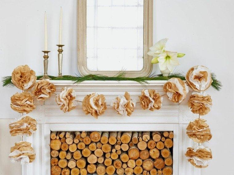 diseño guirnalda flores papel troncos