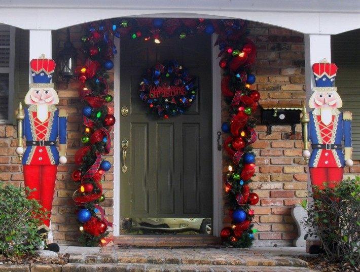 originales adornos navidad entrada azules