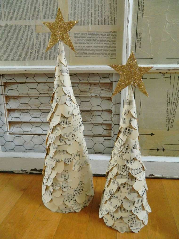 originales arboles navidad papel partitura
