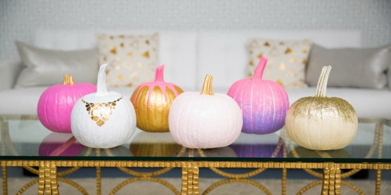 Calabazas y adornos de oto o de colores inusuales - Calabazas de halloween pintadas ...