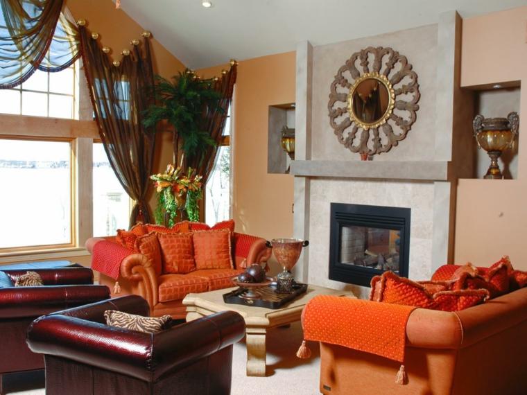 otoño decoracion de salones calido cortinas