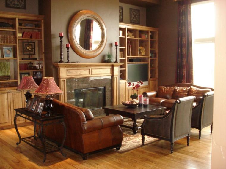 otoño decoracion de salones cuero muebles