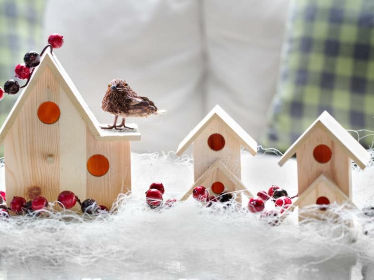 pajaro minimalista decorado algodon casas