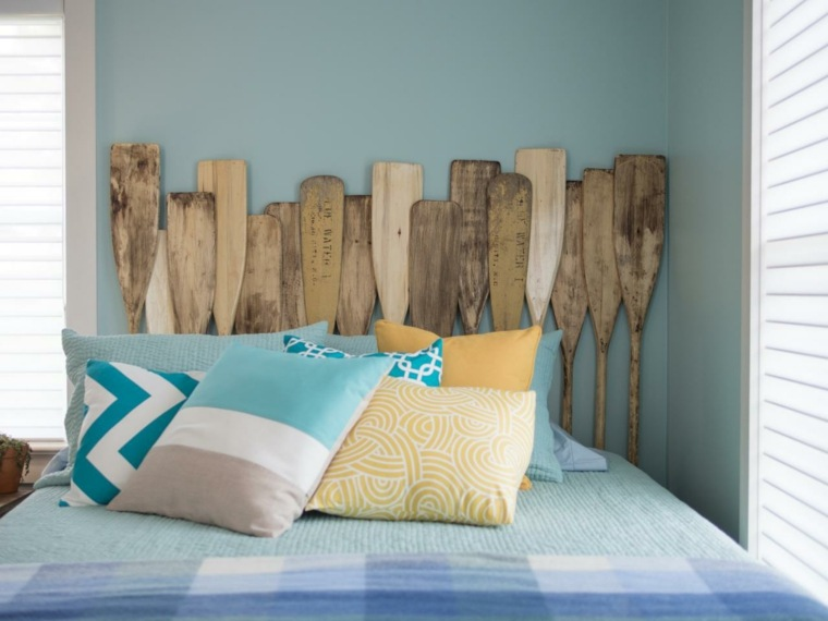 paletas remos madera azules diy