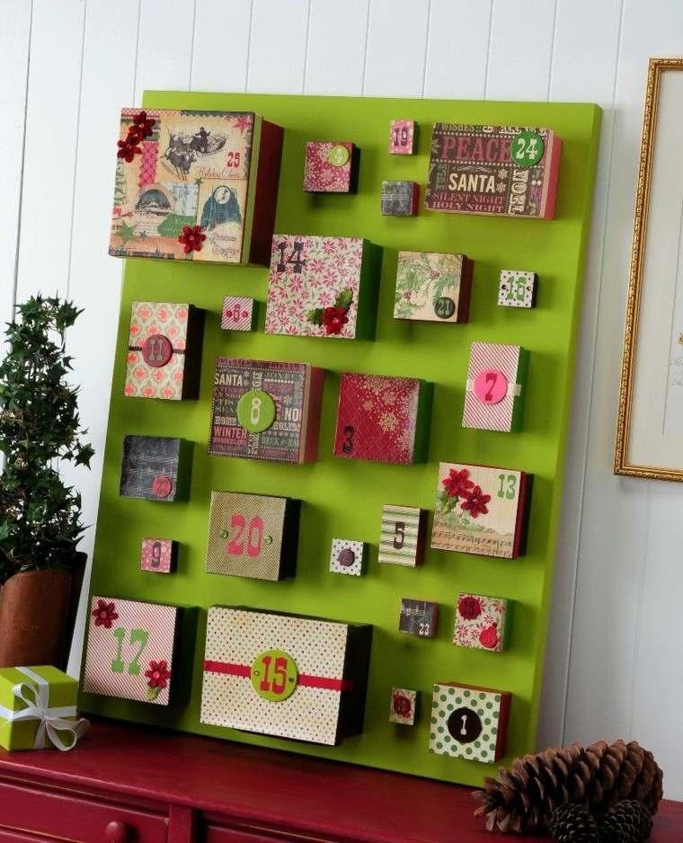 panel madera color verde calendario