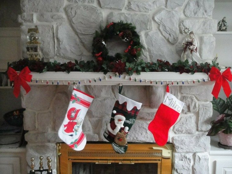 pared piedra decoración navidad