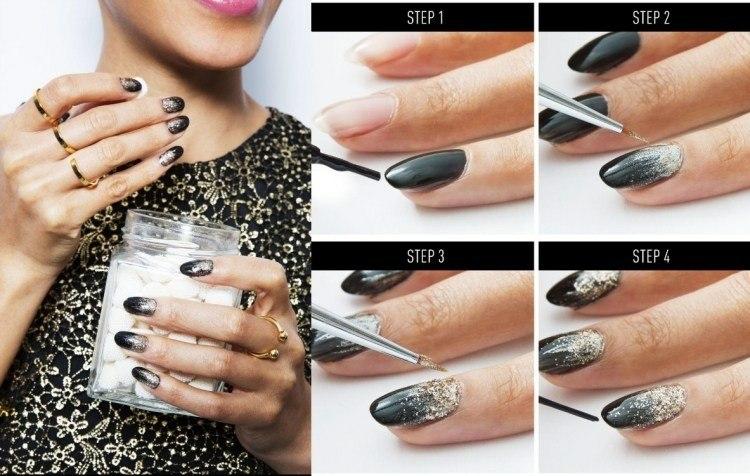 pintura uñas negro plateado